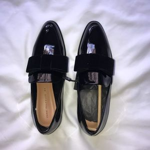 Zara velvet bow loafers